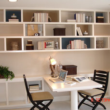 Transitional Home Office by Interiors by LK