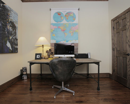 Industrial Home Office Design Ideas Remodels Photos with Dark