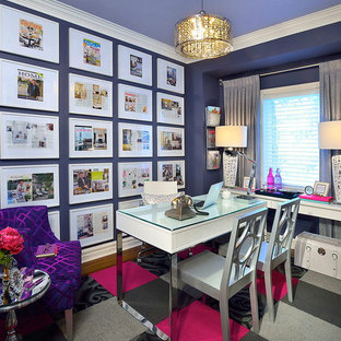 Inspiration for a contemporary home office and library in Toronto with purple walls.