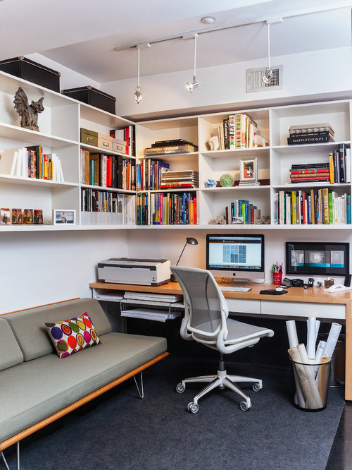 contemporary study room idea in dc metro with carpet a built in desk and - Contemporary Home Office Design