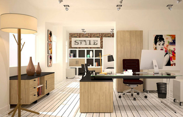 Transitional Home Office & Library by Debra Louise Designs