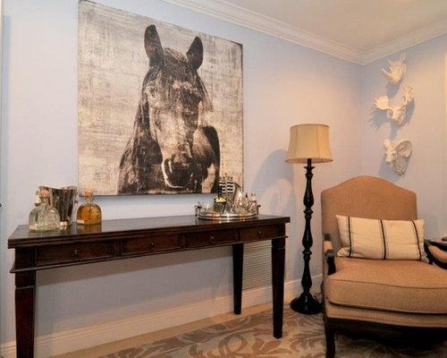 bureau romantique avec un mur bleu photos et id es d co de bureaux. Black Bedroom Furniture Sets. Home Design Ideas