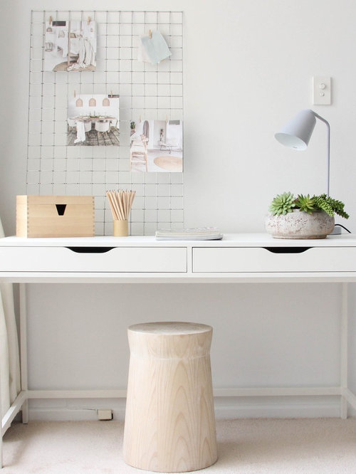 Inspiration For A Small Scandinavian Study Room In Sydney With White Walls,  Carpet And A Part 81