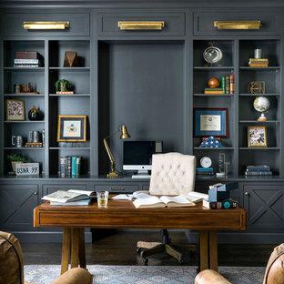 アトランタの広いトランジショナルスタイルのおしゃれな書斎 (グレーの壁、濃色無垢フローリング、自立型机、茶色い床) の写真