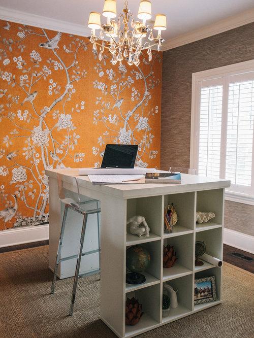 Klassische arbeitszimmer mit oranger wandfarbe ideen - Wandfarbe arbeitszimmer ...