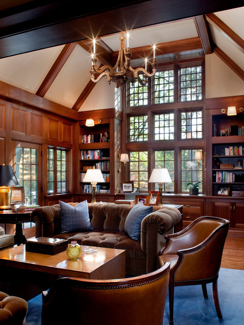 Inspiration For A Timeless Home Office Remodel In Boston With Beige Walls Dark Hardwood Floors