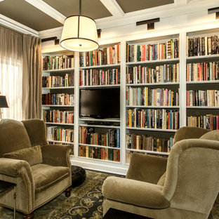 Inspiration for a small transitional dark wood floor home office library remodel in Columbus with gray walls
