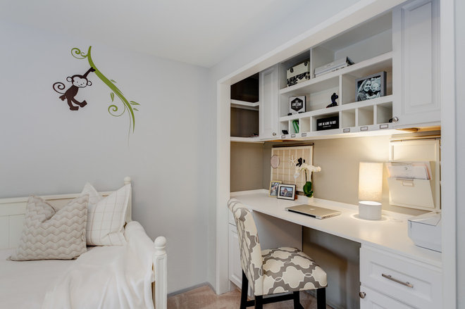 Traditional Home Office by Janelle Interiors
