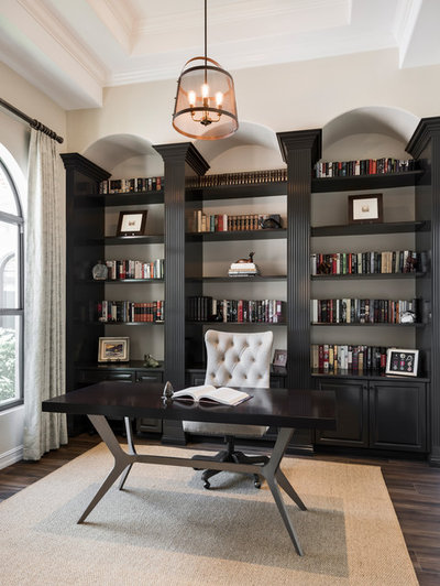 Transitional Home Office by Jinx McDonald Interior Designs