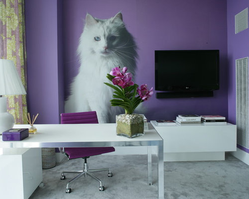 Example Of A Trendy Freestanding Desk Gray Floor Home Office Design In New  York With Purple