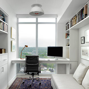 Great Study Room   Small Scandinavian Built In Desk Study Room Idea In Toronto  With White