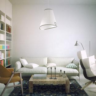 Idee per un ufficio minimalista di medie dimensioni con pareti bianche, pavimento con piastrelle in ceramica e scrivania autoportante