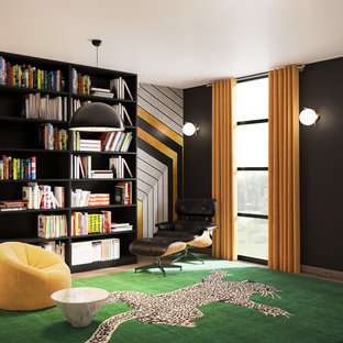 Marvelous Inspiration For A Contemporary Home Office Remodel In Miami With Black Walls