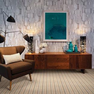 Ispirazione per un ufficio moderno di medie dimensioni con pareti multicolore, moquette, nessun camino, scrivania autoportante e pavimento multicolore