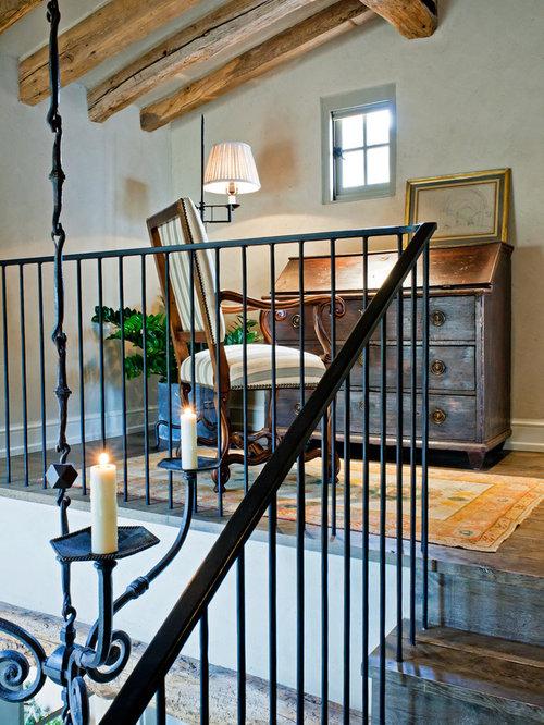 Rustic Freestanding Desk Dark Wood Floor Home Office Idea In Phoenix With  Gray Walls