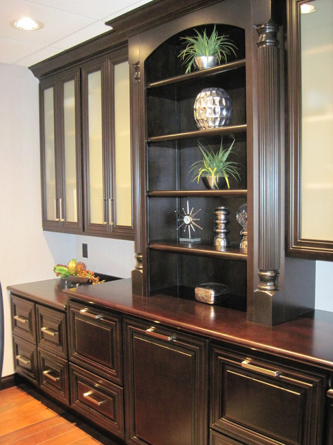 Painted & Distressed Office Cabinets
