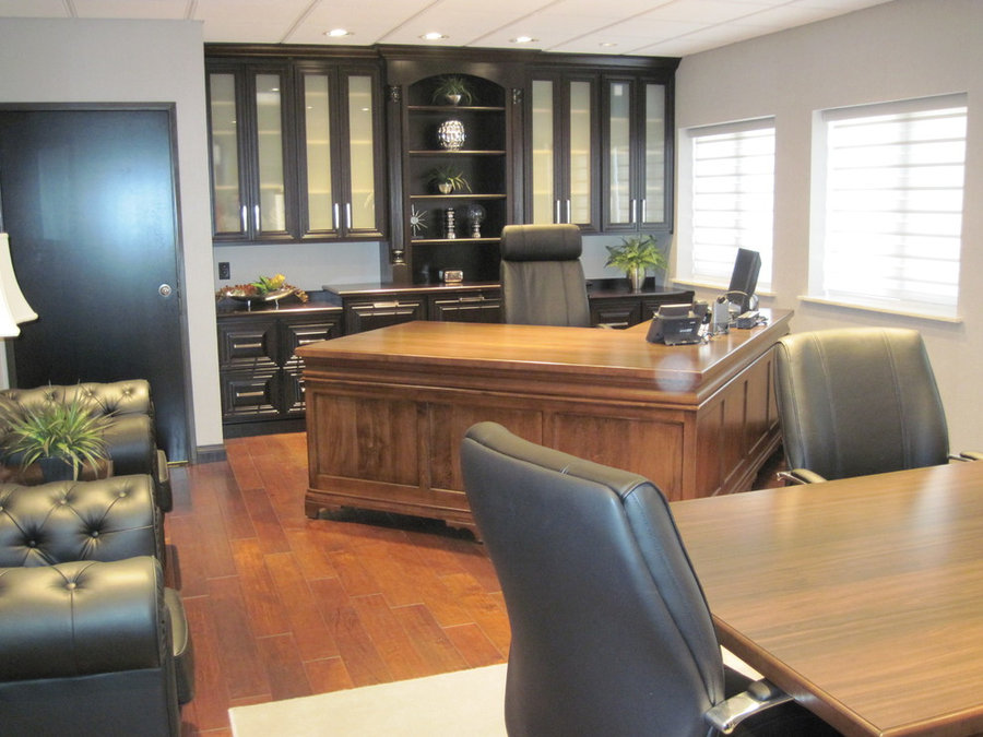 Painted & Stained Office Cabinets