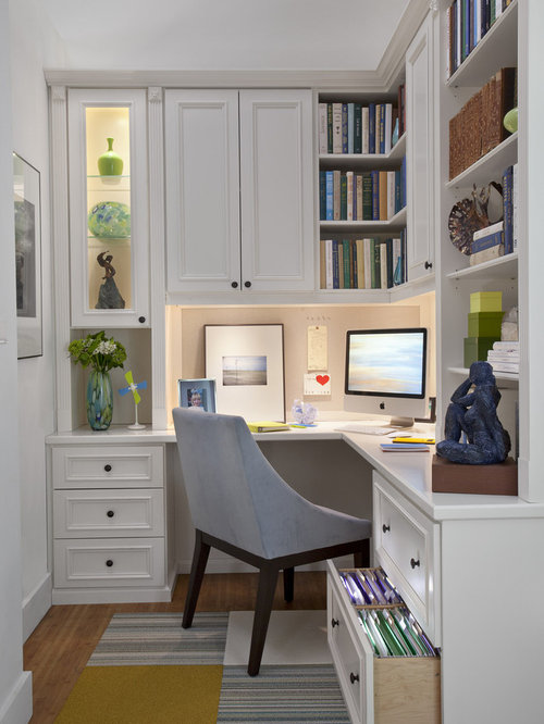 example of a mid sized classic built in desk medium tone wood floor study - Traditional Home Office