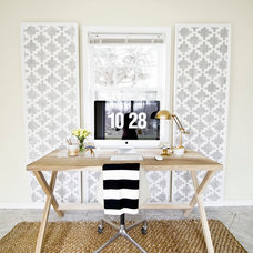 Contemporary Home Office Paneled Wall