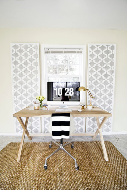 hide cords in style with diy graphic panels. Black Bedroom Furniture Sets. Home Design Ideas