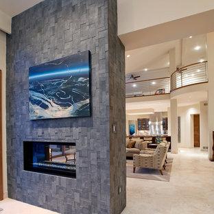 Idée de décoration pour un grand bureau design avec un mur blanc, une cheminée ribbon, un manteau de cheminée en carrelage et un bureau intégré.