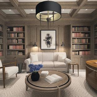 Неиссякаемый источник вдохновения для домашнего уюта: большой кабинет в стиле современная классика с библиотекой, фасадом камина из камня и отдельно стоящим рабочим столом