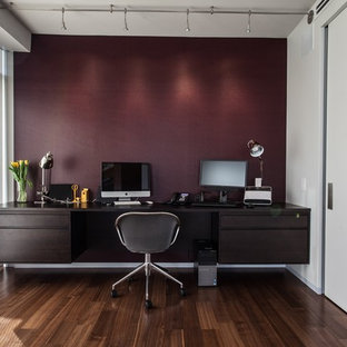 Inspiration for a contemporary home office remodel in Chicago with white walls