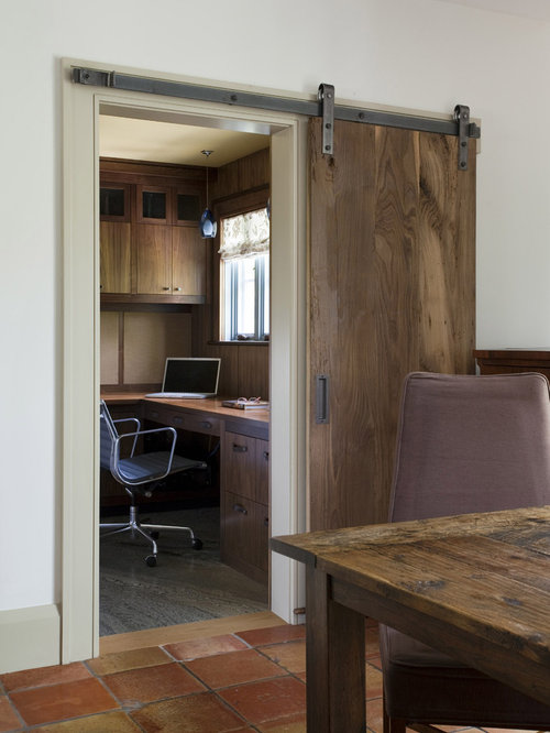 Inspiration For A Rustic Home Office Remodel In Boston With White Walls