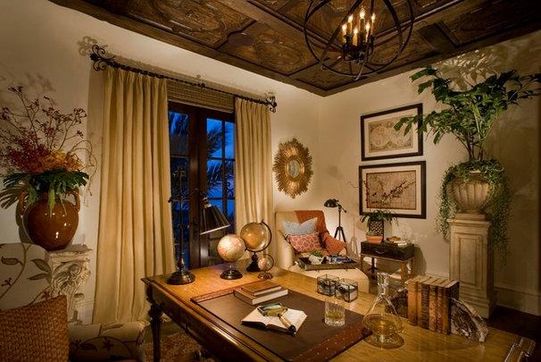 Mediterranean Home Office by Cindy Smetana Interiors