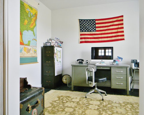 Inspiration For A Farmhouse Freestanding Desk Home Office Remodel In  Seattle With White Walls
