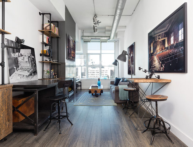 Industrial Home Office & Library by Rad Design Inc