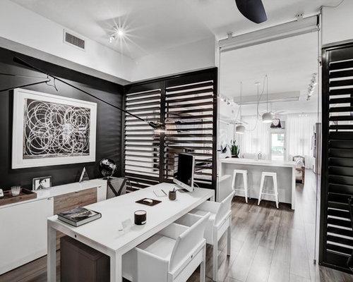 Arbeitszimmer mit schwarzer wandfarbe ideen design bilder houzz - Arbeitszimmer wandfarbe ...