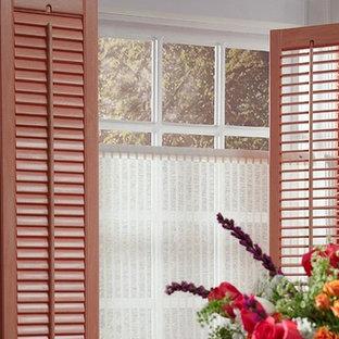 PLANTATION SHUTTERS - LIGHT RED WINDOW SHUTTERS - Lafayette Woodland Harvest