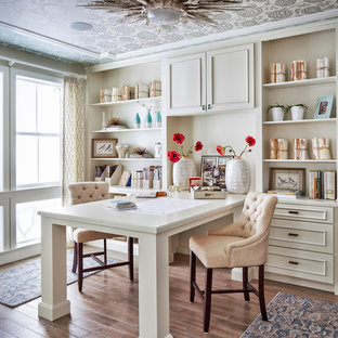 75 Beautiful Home Office Pictures & Ideas | Houzz on white modern office design, white home office modular furniture, white home office cabinets, white small office design, white home office bookcase, white home office ideas, white home office built ins,