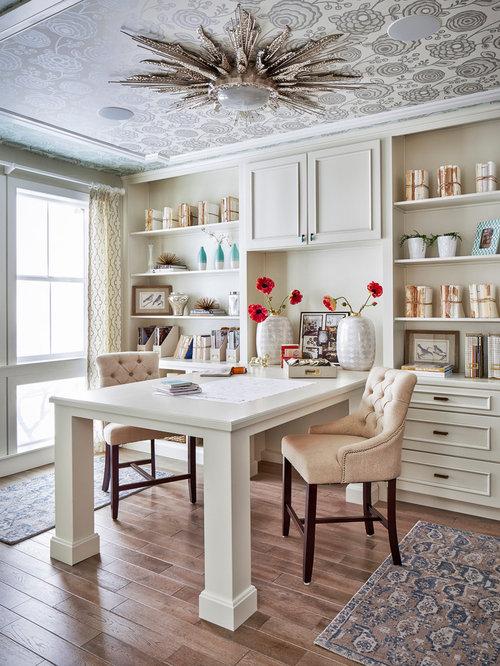 Example Of A Classic Built In Desk Medium Tone Wood Floor Home Office Design  In