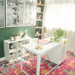 Small eclectic freestanding desk carpeted and pink floor home studio photo in San Francisco with green walls