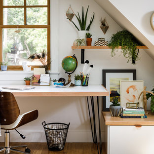 Exceptionnel Trendy Freestanding Desk Study Room Photo In Denver With White Walls