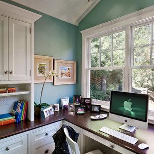 Example Of A Classic Built In Desk Dark Wood Floor Home Office Design In San