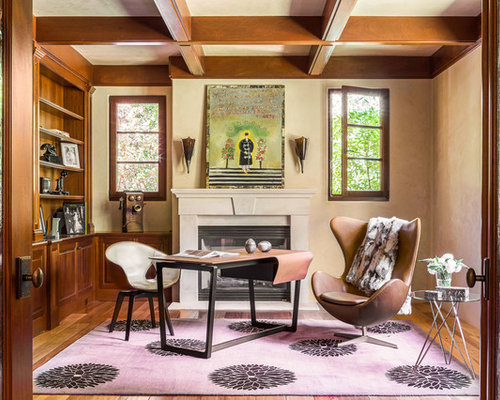 Example Of A Large Eclectic Freestanding Desk Medium Tone Wood Floor And  Brown Floor Study Room