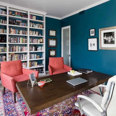 Home office - eclectic home office idea in Los Angeles with blue walls
