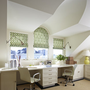 Home office - transitional built-in desk home office idea in San Francisco