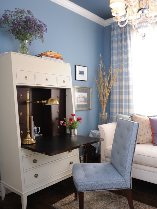 Inspiration For A Timeless Home Office Remodel In San Francisco With Blue Walls