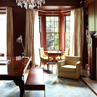 Example of an eclectic home office design in New York