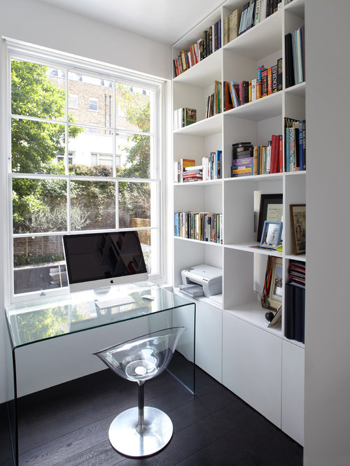 inspiration for a small home office remodel in london with white walls dark hardwood - Dark Hardwood Floors