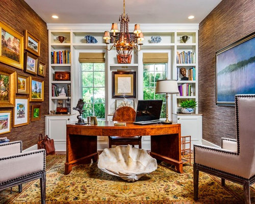 inspiration for a mid sized timeless freestanding desk study room remodel in dc metro with - Traditional Home Office