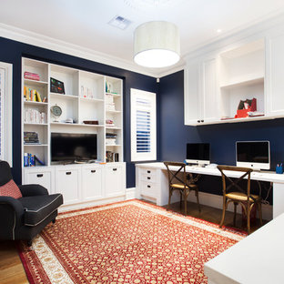 home ofice great office design. Photo Of A Large Transitional Study Room In Melbourne With Blue Walls,  Medium Hardwood Floors Home Ofice Great Office Design
