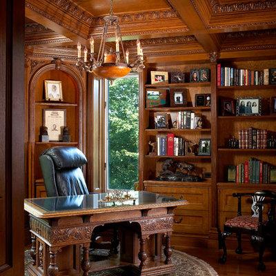 Home office - traditional freestanding desk medium tone wood floor home office idea in New York