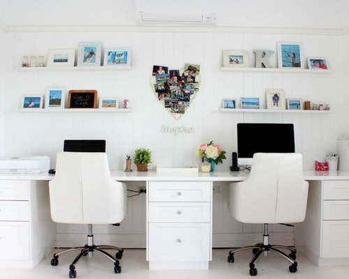 Inspiration for a beach style home office in Brisbane with white walls and  a built Home Office Design Ideas  Renovations   Photos. Home Office Design Inspiration. Home Design Ideas