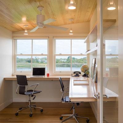 Trendy built-in desk home office photo in Providence