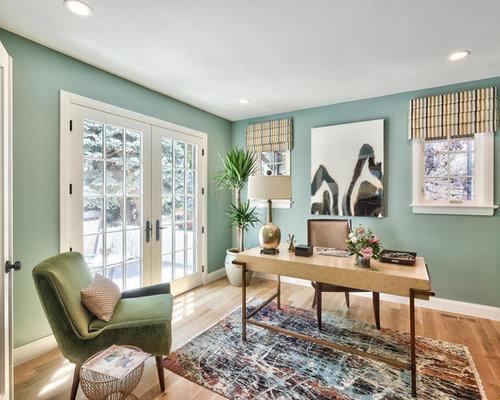 Klassische arbeitszimmer mit gr ner wandfarbe ideen design bilder houzz - Wandfarbe arbeitszimmer ...
